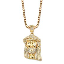 """.50 TCW Cubic Zirconia 14k Gold-Plated Head of Jesus Pendant Necklace 20"""" - $69.99"""