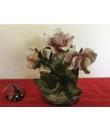 """Capodimonte Porcelain Rose Flower Arrangement Decor 7"""" - $40.00"""