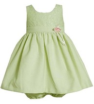 Bonnie Jean Baby Girl 3M-24M Sage-green Pink Rosette Waist Lace And Linen Dress