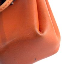 Authentic HERMES Paris Orange Leather Tiny Cosmetic Pouch Wristlet Purse France image 5
