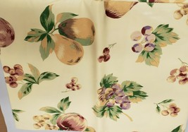 "FLANNEL BACK Vinyl Tablecloth 52""x52"",SQUARE FRUITS:APPLES,PEARS & GRAPE... - $13.85"