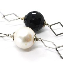 Necklace Silver 925, Onyx Black Faceted, Pearls, 62 cm, Chain Rhombuses image 3
