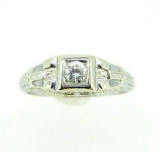 Art Deco 18k White Gold Genuine Natural Diamond Filigree Ring .22ct (#J... - $550.00