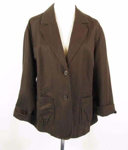 TALBOTS 22W Brown Irish Linen Blend Blazer Jacket