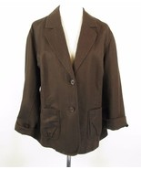 TALBOTS 22W Brown Irish Linen Blend Blazer Jacket - $26.99
