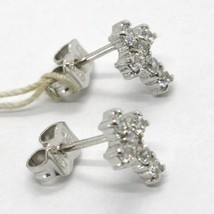 WHITE GOLD EARRINGS 18K, CROSS WITH ZIRCON CUBIC, MADE IN ITALY, GOLD 750 image 2