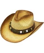 Henschel Raffia Aussie Cowboy Cowgirl Shapeable Barrel Beads Concho Nat... - $43.00