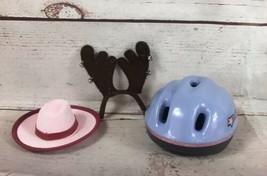 American Girl Doll Purple Bike Helmet, Reindeer Ears Headband And Pink Hat - $19.79