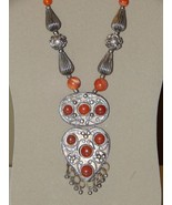 Yemen Bedouin Ornate Necklace with Carnelian Stone Beads and Cabochons - $149.99