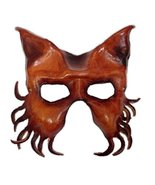 Mystical Wolfman Genuine Leather Mask Brown Wolf Krampus Style Costume A... - $35.87