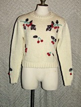 Vintage Ginenne Cherry Crop Knit Sweater Size Large - $34.65