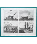 SHIP on Fire Hoisting Flag Court Martial - 1844 Superb Print - $25.20