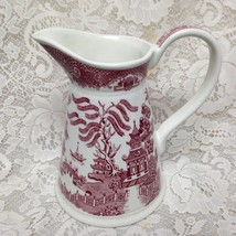 Vintage, Rare, Regal, England, Pink-Red Willow Pitcher 7.5in x 7in - $85.45