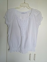 St. John's Bay Ladies Ss White Thin Cotton Top w/ELASTIC WAIST-S-BARELY Worn - $9.99