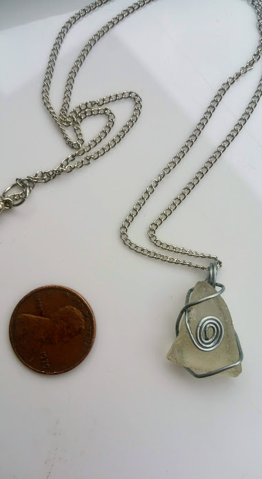 Small Seer necklace: White Estonian sea glass with silver color wire spiral