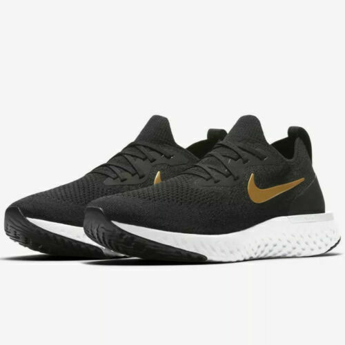 Nike Epic React Flyknit Black Gold AQ0070-013 Running Shoes Women's Multi Size