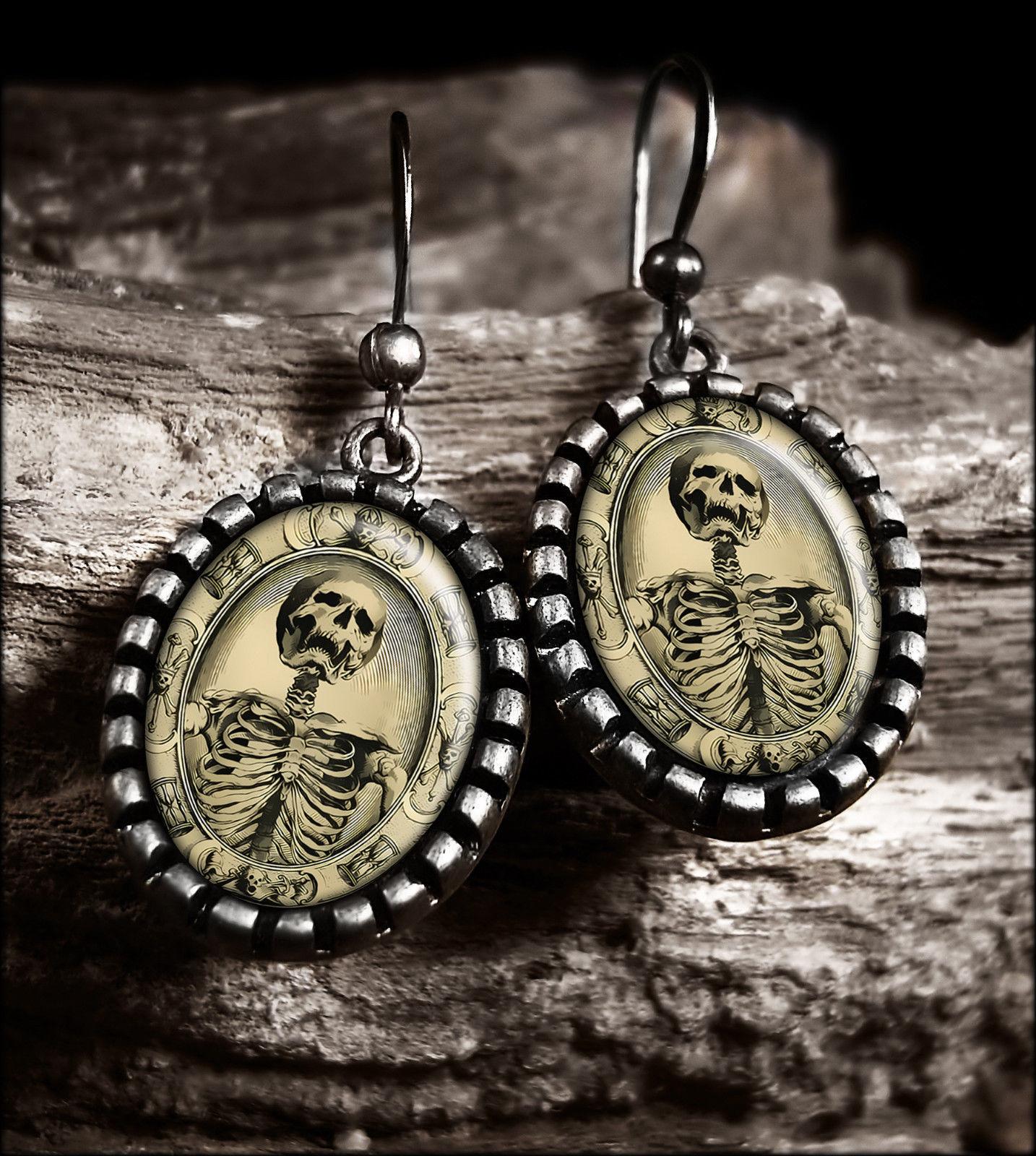 Gothic Memento Mori Victorian Skeleton Silver Horror Halloween Glass Earrings