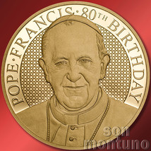 1/4 OZ - POPE FRANCIS 80TH BIRTHDAY - 35mm 24k Gold Coin - 2016 COOK ISL... - $650.00