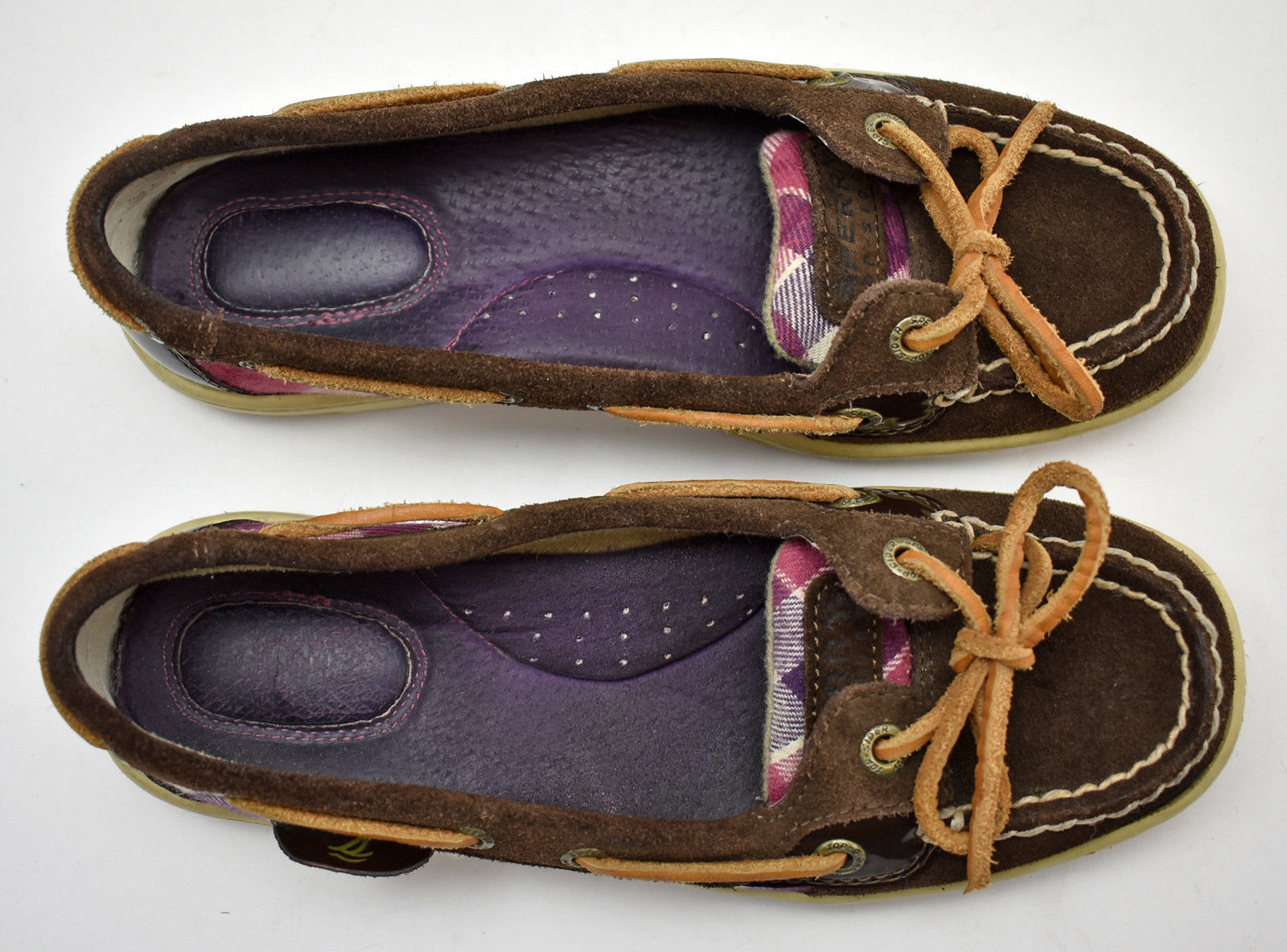 3374dd60f97 Sperry Top-Sider Brown Suede Leather Pink Purple Plaid Boat Shoes-Women s  ...