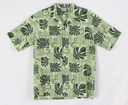 Mens Hawaiian Shirt L size Royal Creations Hawaii Green Floral Aloha Vac... - $21.42