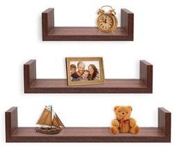 Floating Shelves Rustic Walnut Shelf Storage Organizer Decorative Living... - $17.04