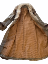 Vintage Women Long Suede Leather Fur Trim Coat Full Length Brown 70s Trench Belt image 7