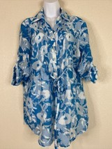 Multiples Womens Size L Blue Floral Button Front Tunic Shirt 3/4 Roll Sl... - $17.82