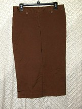 Ann Taylor Petites Women's Brown Cotton Dress Slacks Capris Size 12P Bus... - $11.88