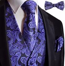 PURPLE / BLACK Tuxedo Suit Dress Vest Waistcoat & Bow tie & Necktie and Hankie - $26.71+