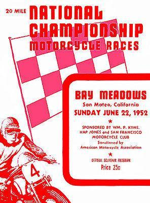 Primary image for 1952 National Championship Motorcycle Races - Promotional Advertising Poster