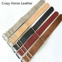 Black Brown Khaki Gray Red 18 20 22mm Nato Watch Strap Crazy Horse Leather Bands - $29.13