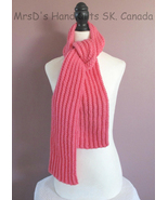 60 inch Pink Scarf Knitted Ribbed Neck Warmer - $24.00