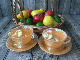 Lot of 2 Oven Fire King Ware Peach Laurel Leaf Luster Cups and Saucer Set - $12.09