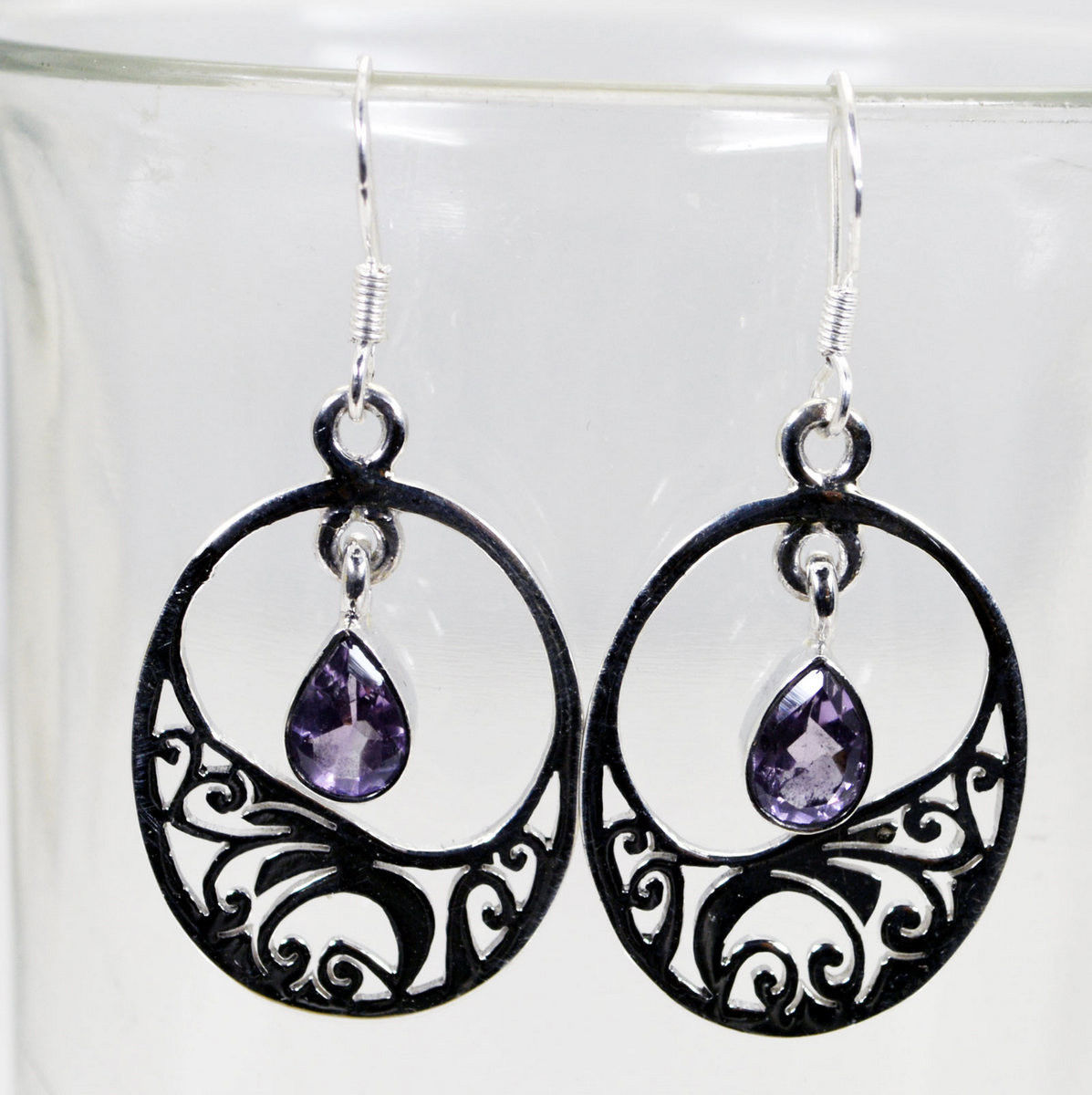 pulchritudinous Amethyst 925 Solid Sterling Silver Purple Earring Natural US