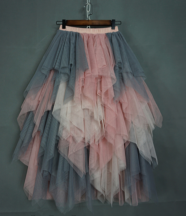 Irregular tulle pink blush gray 2