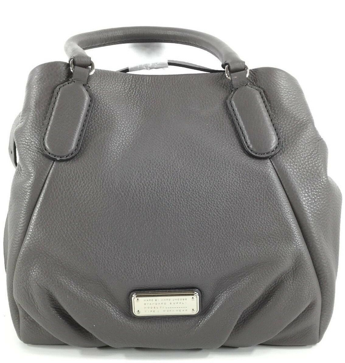 Primary image for $448 MARC JACOBS NEW Q FRAN GREY ITALIAN LEATHER SHOULDER TOTE BAG PURSE *NWT*