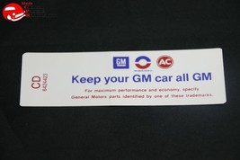 68 Oldsmobile 6 Cylinder Engine Keep Your GM All GM Air Cleaner Decal - $999.99
