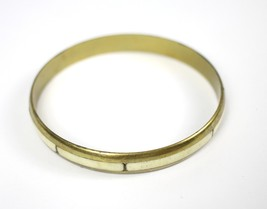 Vintage Slim Brass Metal Bovine Bone Fashion Costume Jewelry Bangle Brac... - $9.58