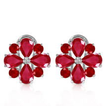 4.85 CTW 14K Solid White Gold French Clips Earrings Natural Ruby - $655.98