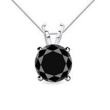 2CT Men/Women's Stylish Black Diamond 4 Prong 14K White Gold Solitaire B... - $204.97+
