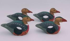 Duck Napkin Holders Rings Mallard Wood Hand Painted Water Fowl Bird Set ... - $19.30