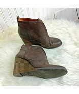 Lucky Brand Womens Sz 8.5 M Brown Ankle Boots Bootie Boot Slip On Wedge ... - $37.39