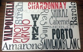 RARE SET of 2 Same Kitchen Vinyl / Foam Back Placemats, NAMES OF WINES - $12.19