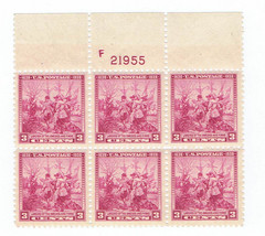 1938 Landing of Swedes and Finns Top Plate Block of 6 US Stamps Catalog 836 MNH