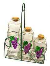 Glass Storage Bottles/Jars (3) Grape Decor Cork Seals In Carrying Holder... - $9.97