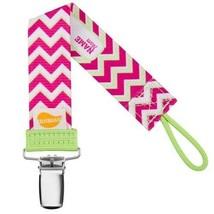 Chevron Pacifier Clip - Girls - Ulubulu - Pink - Universal Binky Clip - NUK - $7.99