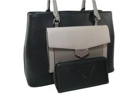 Guess Logo Purse Satchel Hand Bag & Zip Wallet 2 Piece Set Black Multi NWT - $158.39