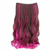 """One-piece Two Tone Clip-on Hairpieces 5 Clips 20"""" - Brown/Rose Red - $14.89"""