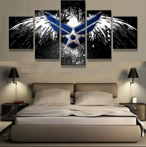 Framed 5 Piece AIR FORCE EAGLE Picture Poster Canvas Wall Art Home Decor - $78.95+