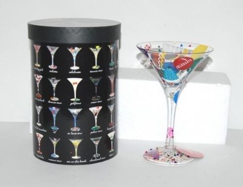 Santa Barbara Design Lolita Celebrate Martini Glass Hand Painted